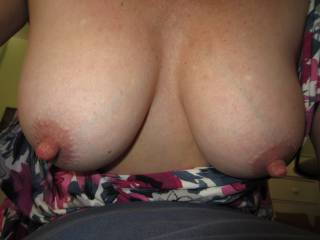 I'd like to kiss them, bite them, lick them, smack them, push them, pull them, grip them, hold them, rub them, squeeze them, fuck them. Massage it all over with my warm stiff cock, left, right, up and down, circles on your nipples until my clear pre cum is dripping from your nipples.