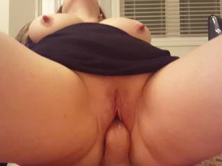 Now that is one sensational view, her hot pussy stuffed with cock, and her nipples hard as hell.  So hot.