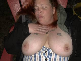 My wife showing off her big tits to my buddy and I. She loves it when other Men or women watch her.