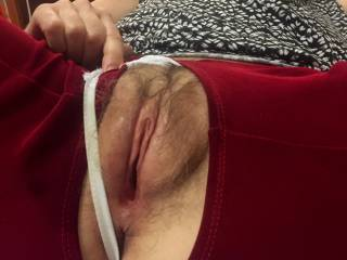 Our wish is her command.  Pussy wet and swollen by orgasmic toying, tonguing and fingering.