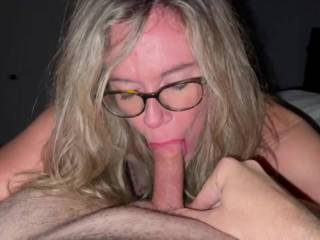 My cockgobbler is back at it with her glasses on. Loves to suck and swallow