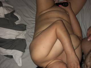 She loves sucking his cock. Fat dildo stretches her tight wet cunt