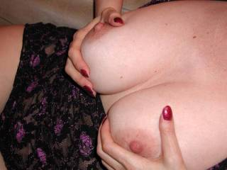 I'd love to lick your wonderful areola and suck your luscious nipples. And cover them with my cum.