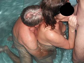 Threesome fun in the spa at home with our swinger friend. Sucking my Hubby\'s lovely smooth thick cock, whilst our friend fingers me.