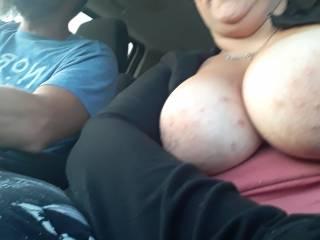 My Slut Wife flashing her big tits on hey.
