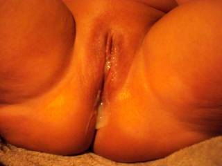 Just the way I love my pussy full of man cream now who's next I could use a few more loads