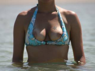 my wife flashing me at the beach