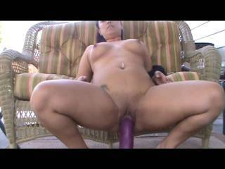 Having fun outdoors riding my huge purple dildo!! Fucked it hard and has suprise endig!!! Love the stretching...u like? ;)