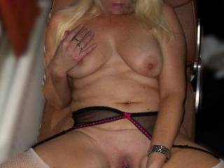 Enjoying myself feeling my tits while I slide my big black rubber cock into my wet cunt