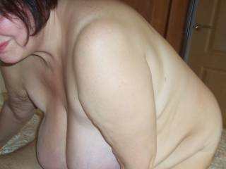 Look at those tantalizing, gorgeous boobs!  Wanna climb on her back and ride til her cunt farts and squirt.