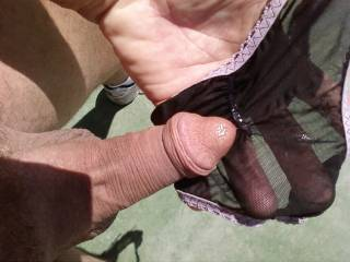 My husband says nice...how did you get a pair of her panties to cum in them?  I'd like to be sucking on your cock cleaning it all up and getting the last of your cum.  MILF K
