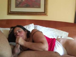 She looks amazing doing this. She is sexy and and has such a talented mouth. She can suck me any time.