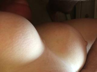 Look at my wife's amazing tits as she is being face fucked by a friend