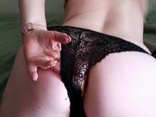 New friend showing me her new panties and wanting me to lick up between her spread ass cheeks and panties before fucking her hard..