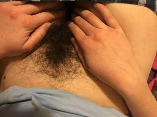 My ex girlfried love to show her hairy bush