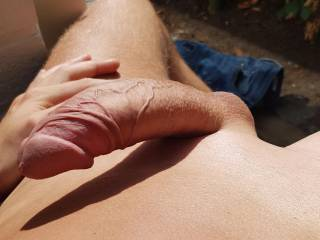 Playing outside with my shaved dick