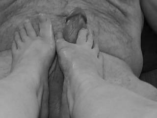 Ladies... Have you enjoyed a hard, thick cock between your toes? Many of you are missing that wonderful feeling of having total control of your man as they love a woman\'s foot taking care of their cock. And! You\'ll enjoy all of that cum on your toes. Mmm.