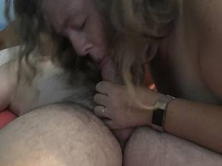 I was sucking my friends cock for all I was worth. I was so wet and he was rock hard. I think he liked it. Do you think I did a good job?