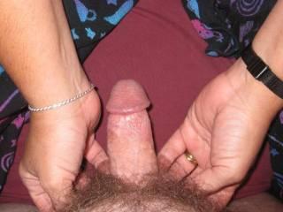wife stroking my balls