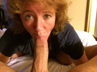 She's such a gorgeous infatuated woman. I can see her naughty love to have that big swollen cock inside her mouth.