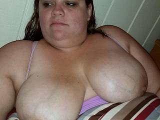 She is just relaxing with her big saggy tits hanging out