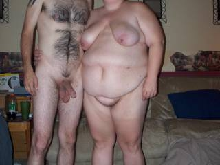 The both of us posing in the nude showing off our bodies.