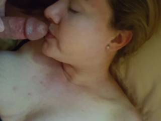 Hubby, teasing my lips with his throbbing rock hard cock... would you like to add your cock to the fun?