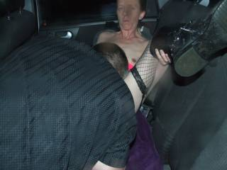 Joanne having her pussy licked by our friend in the back of our car