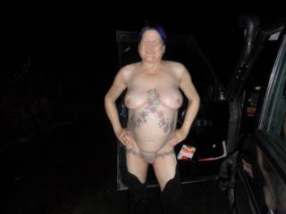 Hi all well we thought we would pop out for a drive Christmas night Fuck me it was cold, you could hang your coat on my nipples dirty comments welcome mature couple