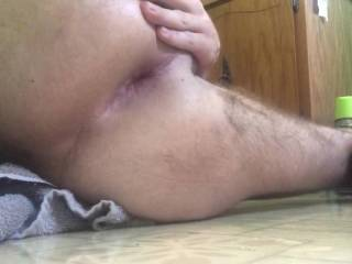 Decided to stretch my ass with this massive dildo.  I am obsessed with gaping myself as far as possible. Anyone wana give it a shot?