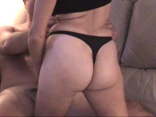 I'd love to pull that black thong off you and put something else black against your pussy and fat sexy ass!!!!