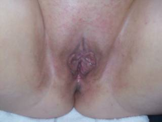 Lupo\'s wife and her freshly fucked pussy.  I fucked her for close to 6 hours this day and pumped 2 loads of cum into her to take home to her cuckold hubby
