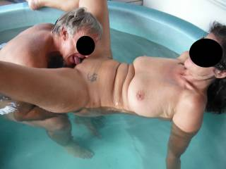 Fun in the spa at home with our swinger friend, when he came around for another threesome.