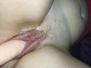 Stretching pussy with big dildo.  Love how swollen my pussy looks
