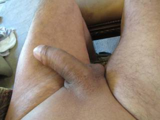 Just relaxing after stroking my cock.