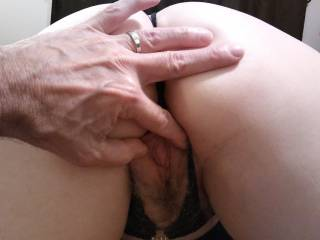 Hubby spreading my moist pink lips for his tongue. Do you like eating pussy? Come and taste me...I love it!!