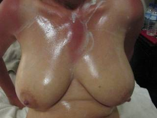Hubby rubbed whipped cream into my tits