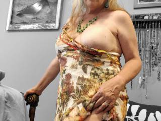 Oops! My dress seems to not stay on my huge tits. Will you help me with my dress? (Hint: I am not wearing any panties.)