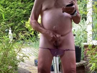 Really enjoying having a good stiff wank in my garden   Thinking about my zoig friends cocks and tits and cunts