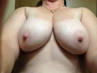 My wife's tits they are amazing who wants to cum on them   show us