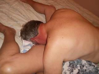 She spread real wide for me to lick her sweet pussy as hubby takes pics.