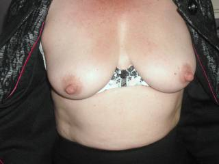 Wow, wow, wow!  What a fabulous pair! ...and nipples that are just asking to be sucked and chewed upon!  Then push your breasts together with my hard cock between them and let me fuck them until I spurt my cum between them.  Mmmmm!