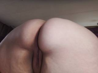 Doggy style showing off her delicious and moist pussy