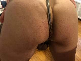 My slave wasn\'t arching his back enough when presenting is ass so I put a hook in him to work on his posture