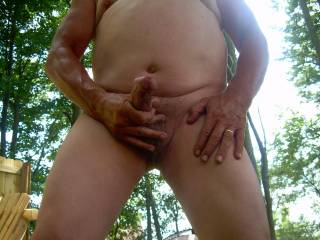Got horny playing around naked outside and had to play with my cock.