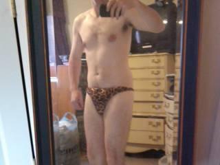 Just a leopard thong
