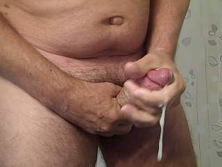 Oh yes, that is so delicious....hot cock with nice warm cum oozing out of your hard cock....I'd love to have all that cum and cock in my mouth....enjoying each spurt of your cum as it fills my mouth...I will swallow it and your cock. I nice cum shot.   MILF K
