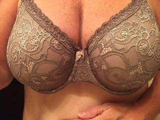 Leave it on, I would love to slide my thick length under the underwire if your bra and fuck those gorgeous tits and erupt one of my big loads on your chin?