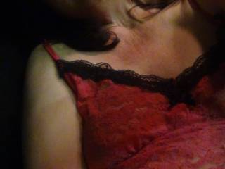 a self shot of me in my car and red lingerie.....frilly hmmmmm?