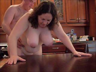 some cock and pussy at the kitchen table